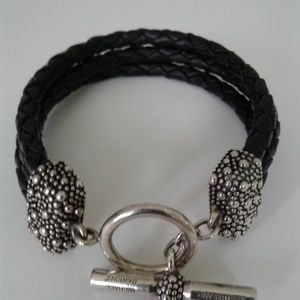 Designer Leather and Sterling Silver Bracelet